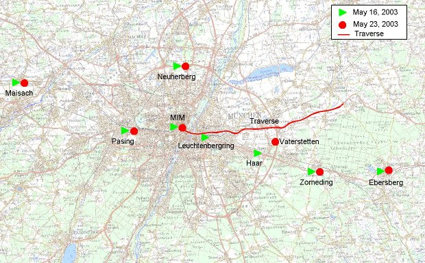 Map of the ICAROS measurement sites in Munich and its suburbs during two days of ICAROS-NET field campaign