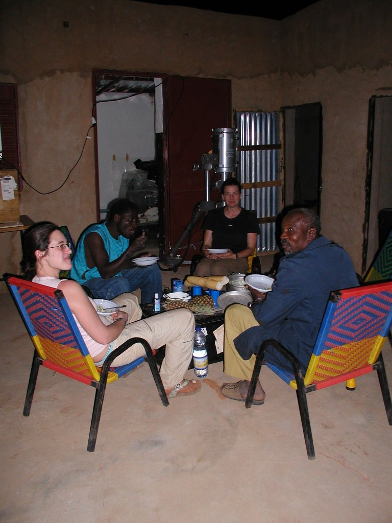 Breakfast after nighttime measurements at the field station near Banizoumbou