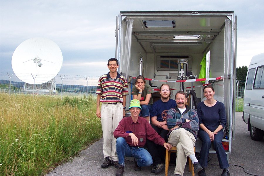 Lidar group in front of the Lidar trailer at the Lichtenau site
